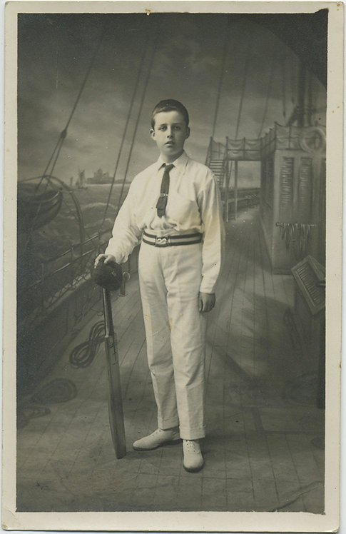 ANYONE for CRICKET at SEA? GORGEOUS RPPC! YOUNG CRICKETER 1912 STUDIO BACKDROP