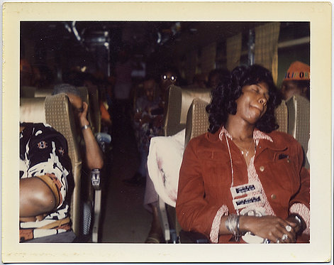AFRICAN AMERICAN TRAVELERS SLEEP ON BUS TRIP POLAROID!