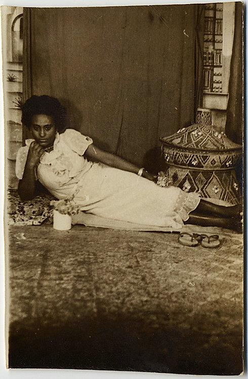 VERY RARE! ETHIOPIAN SNAPSHOT WOMAN RECLINING