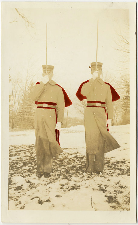 CADETS PRESENT ARMS in SNOW w RED HAND PAINTED TINTED CAPES