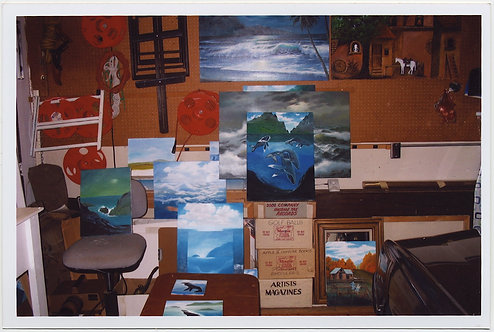 PHOTO of PAINTINGS in ARTISTS'S STUDIO