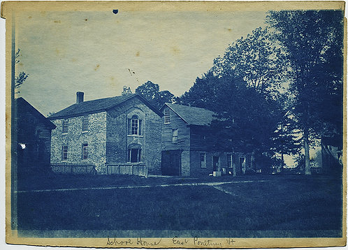 Rich-toned LARGE CYANOTYPE of SCHOOL HOUSE in POULTNEY VERMONT
