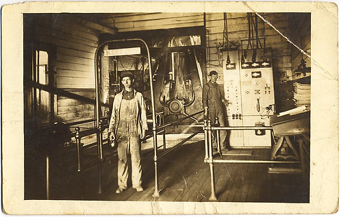MEN WORKERS GUARD DANGEROUS INDUSTRIAL WORKING PLACE INTERIOS Keep Out SIGN RPPC