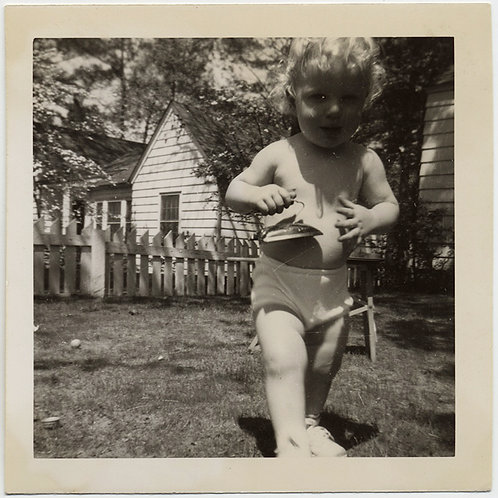 BIG HUGE GIANT BLONDE BABY w TINY IRON GREAT PERSPECTIVE