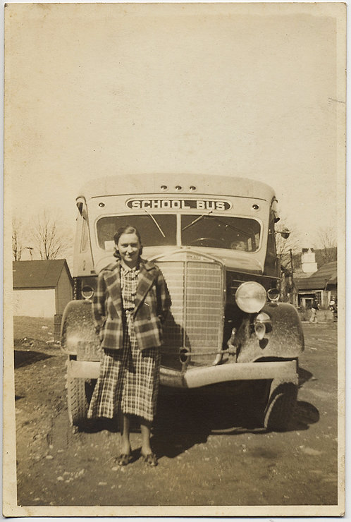 LOVELY YOUNG GIRL in RIOT of PLAID in front of VINTAGE SCHOOL BUS!