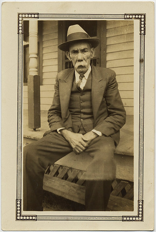 GREAT PORTRAIT of OLD MAN with HUGE MOUSTACHE & HAT on PORCH CHARACTER STUDY