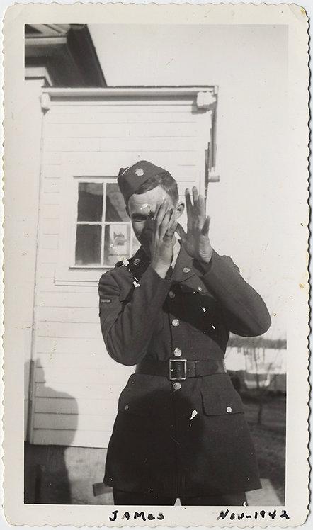 HANDSOME SOLDIER JAMES FRAMES SHOT or GESTURE MASKS FACE for CAMERA