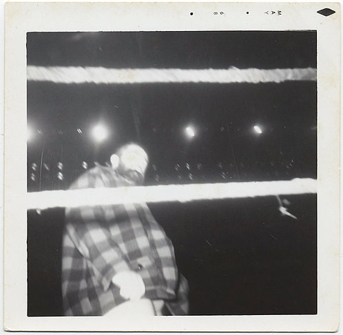 SCARY LARGE BEARDED MAN in PLAID SEEN through BOXING RING ROPES FLASH BLITZ