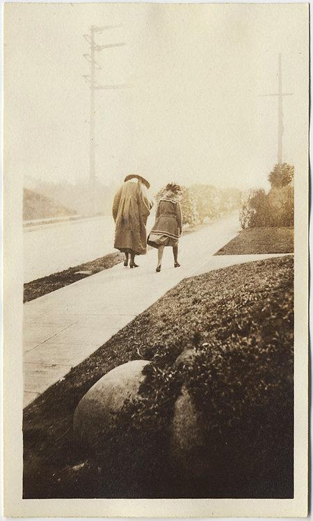 UNUSUAL SCARY BENT WOMEN in DARK CLOAKS CAPES WALK down SIDEWALK in HATS