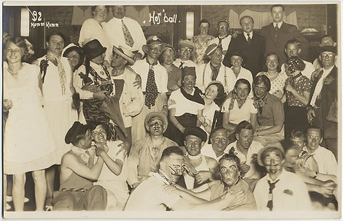 BIZARRE GERMAN COSTUME DANCE PARTY w GROUP in MAKEUP Hoff Ball RPPC