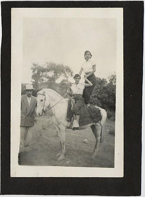 BEAUTIFUL WOMEN ONE STANDING on HORSEBACK w PEON MEXICAN?