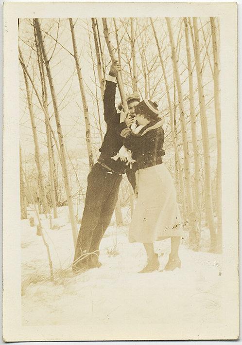 SNOWBOUND LANGUROUS LOVERS GET FRISKY in WINTER FOREST