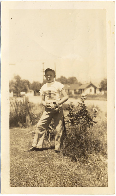 ADORABLE EARLY BASEBALL PLAYER KID in SUBURBAN PORTRAIT GREAT CAPTION