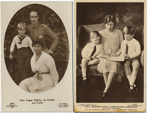 2 RPPC EUROPEAN ROYALTY Princess MARY & Nazi Sympathizer PRINCE of PRUSSIA &Kids