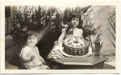 LITTLE  GIRL w CORSAGE DOLLS and MASSIVE ORNATE BIRTHDAY CAKE