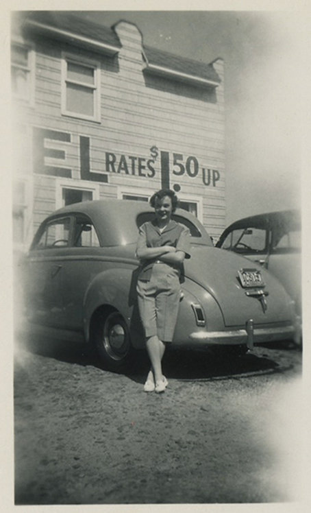 """HOTEL RATES $1.50 UP"" Woman, Car + Signage!"