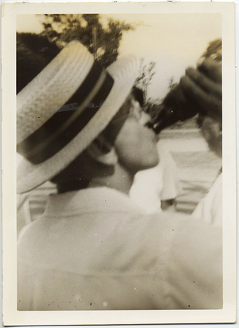 MAN in BOATER STRAW HAT CHEESECUTTER SWIGS SODA Crescent Park 1939