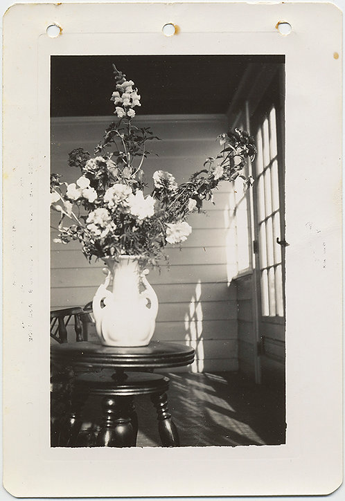 STUNNING VASE of FLOWERS on SUNLIT ENCLOSED SUN-DRENCHED PORCH
