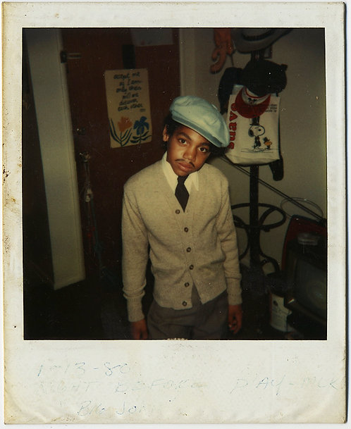 ADORABLE AFRICAN-AMERICAN YOUNG BOY w CAP and FAKE MOUSTACHE POLAROID