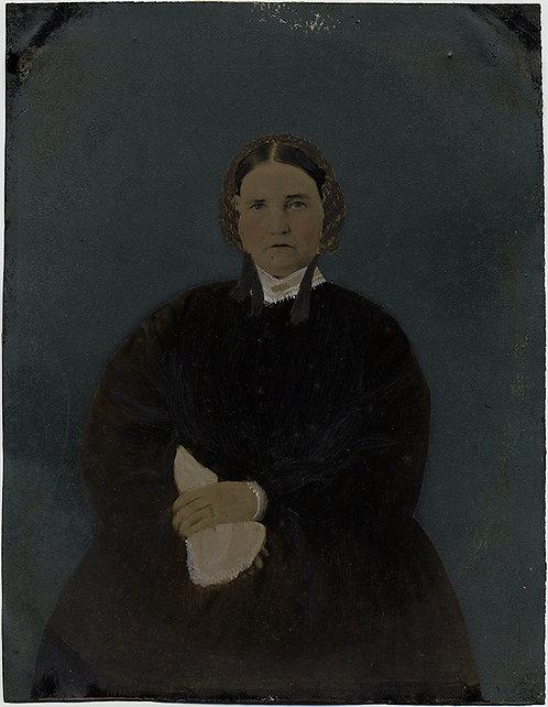 SUBTLE ELEGANT FULL PLATE TINTYPE HAND PAINTED PORTRAIT WOMAN w KERCHIEF