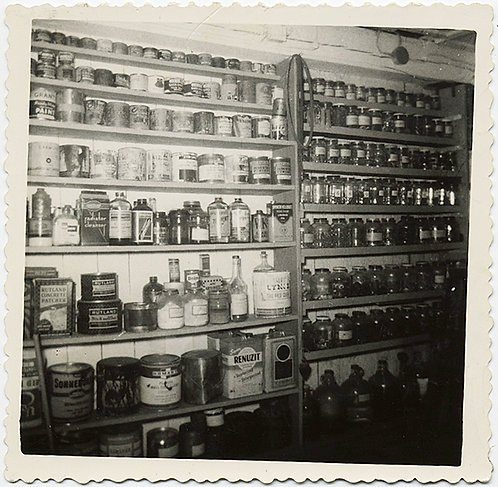 ALMOST ABSTRACT! SHELVES with PRESERVES and GREAT CAPTION!