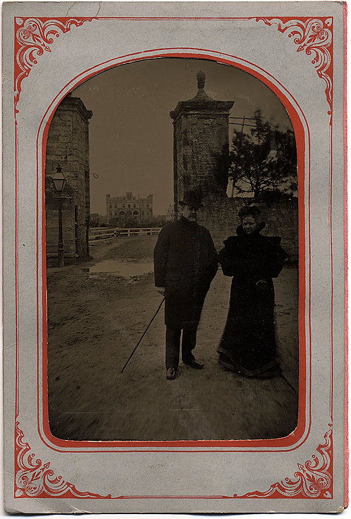 GREAT LARGE TINTYPE FORMAL COUPLE at CITYGATES ST. AUGUSTINE FLORIDA