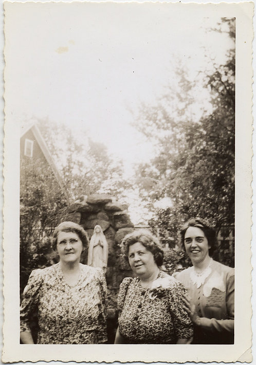 THREE BLOWSY WOMEN and a VIRGIN In the GARDEN with STATUE OF MADONNA MARY