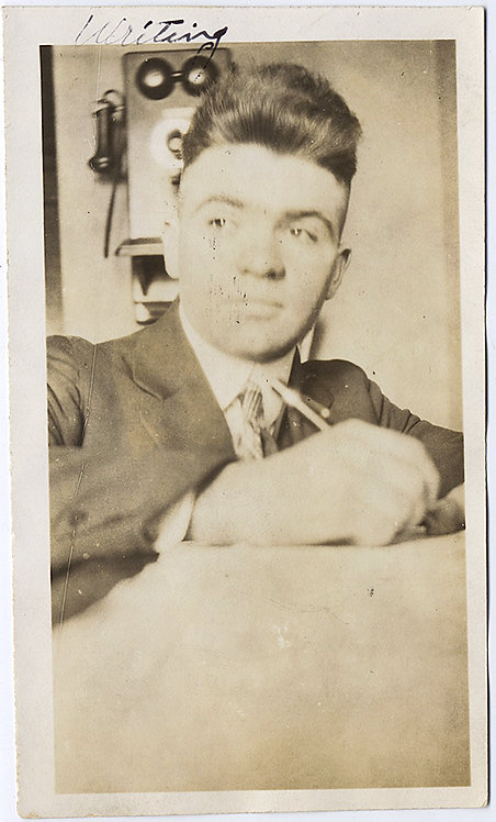 """GREAT EARLY LOW ANGLE SELFIE MAN """"Writing"""" CAPTION VINTAGE EARLY WALL TELEPHONE"""