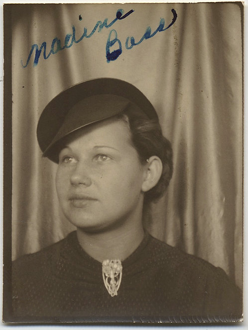 PHOTOBOOTH SERIOUS WOMAN w INTERSTING CAP HAT and SIGNIFICANT BROOCH Nadine Bass