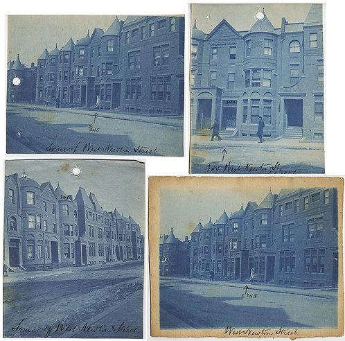 CYANOTYPES of BOSTON STREET HISTORY! 245 WEST NEWTON STREET THEN & NOW 4 pics