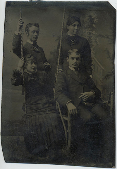 GREAT Tintype! 2 COUPLES in STUDIO with SWING and rustic TWIG CHAIR