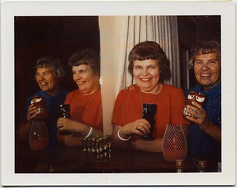 FABULOUS POLAROID WOMAN in RED & BLUE w 70s MUGS & MIRROR REFLECTION