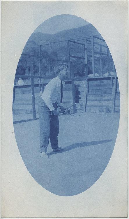 BEAUTIFUL CYANOTYPE of YOUNG TENNIS PLAYER  RAQUETBALL OVAL