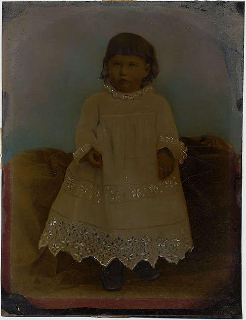 BEAUTIFUL CHILD CUTWORK BRODERIE ANGLAISE GOWN FULL PLATE TINTYPE HAND PAINTED