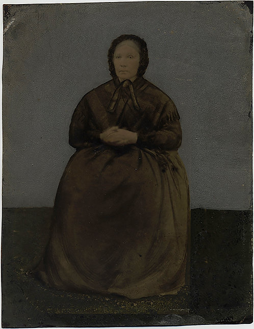 GORGEOUS FOLK ART FULL PLATE PAINTED TINTYPE PORTRAIT of OLDER WOMAN