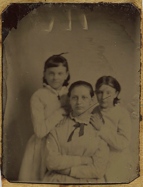 TWO TINTYPES incl GEM: LITTLE GIRLS & YOUNG WOMAN ID'd