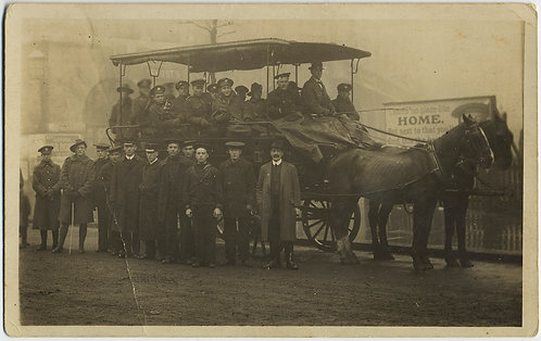 HORSE CART CARRIAGE w SOLDIERS OFFICERS & VINTAGE BILLBOARD CELEBRATING HOME