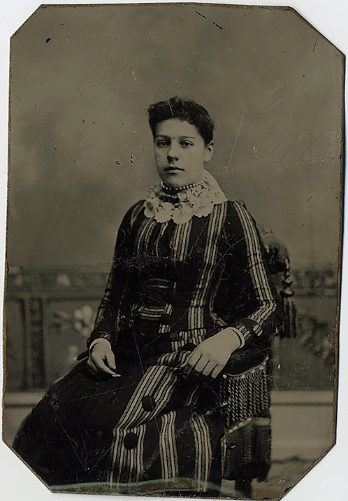 WOMAN in EXTRAORDINARY STRIPED DRESS WITH UNUSUAL INTERESTING LACE? COLLAR