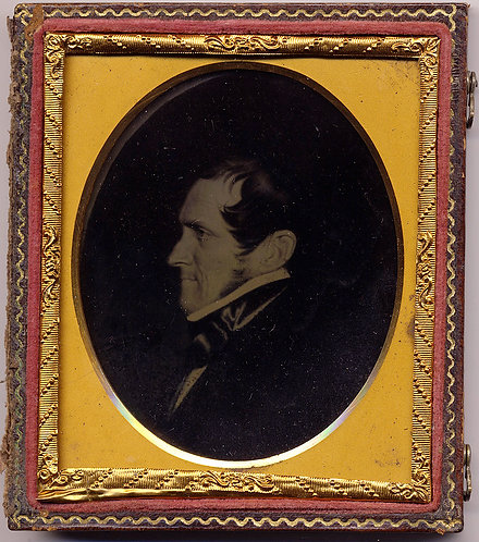RARE!  AMBROTYPE of FOLK ART PAINTING of MAN PORTRAYED IN PROFILE!