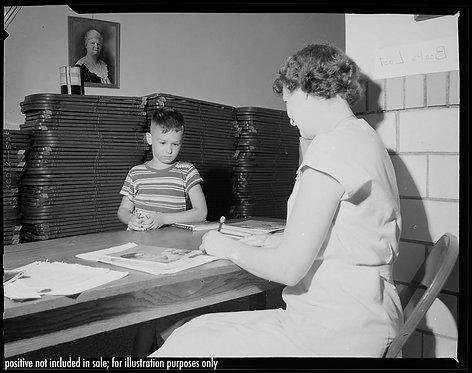 PRESS NEGATIVE SWEET LITTLE BOY WATCHES TEACHER in BOOK SWAP EXCHANGE McKinley
