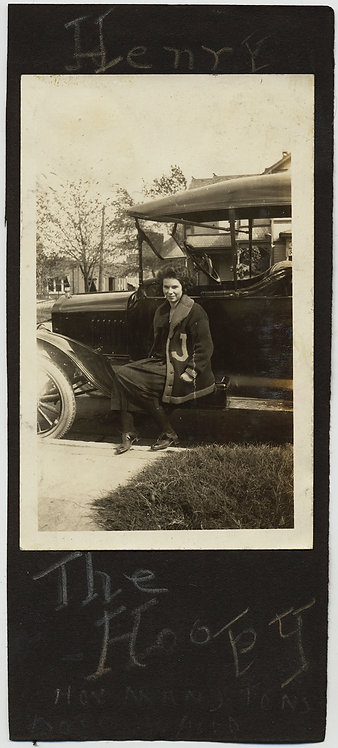 LOVELY WOMAN J SWEATER VEST on RUNNING BOARD of MODEL T? Henry the Hoopy CAPTION