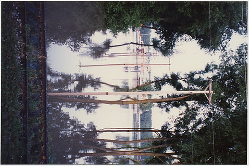 STUNNING 4X6 FLOODED ROAD REFLECTION RORSCHACH RAILROAD TELEPHONE WIRES