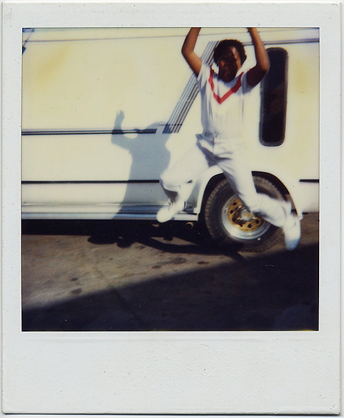 POLAROID AFRICAN AMERICAN BLACK BOY WHITE CLOTHES & VAN JUMPS RED ACCENT SWEATER