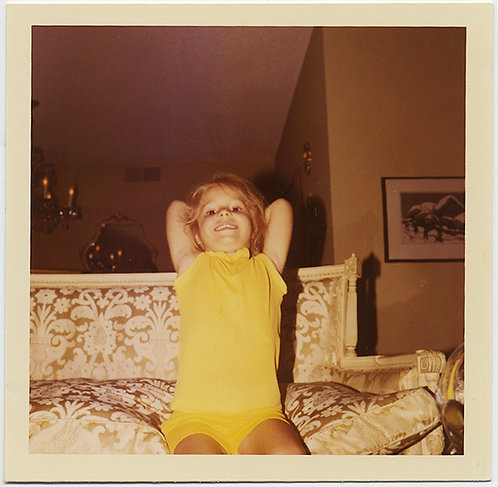 LITTLE GIRL in YELLOW poses on FAUX EMPIRE SETTEE! Adorable!