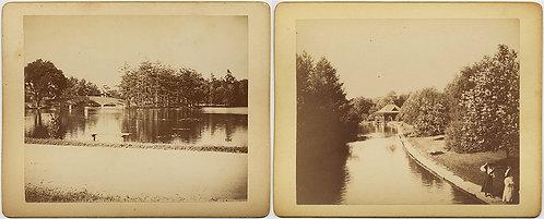 2 SUPERB EARLY KODAKS! INSTITUTE & ELM PARK WORCESTER MA 4 July 1895 Boat House