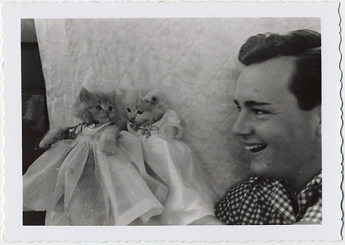 CUTE SUPER HANDSOME MAN & CUTE KITSCHY KITTENS KITTED out in SKIRTS! Cats & Dad!