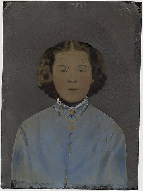 Painted Full Plate Tintype: GIRL IN BLUE!