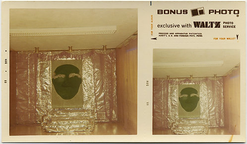 BONUS PHOTO WEIRD INTERIOR GREEN FACE & TIN ALUMINIM FOIL WALLS PLATFORM UNUSUAL