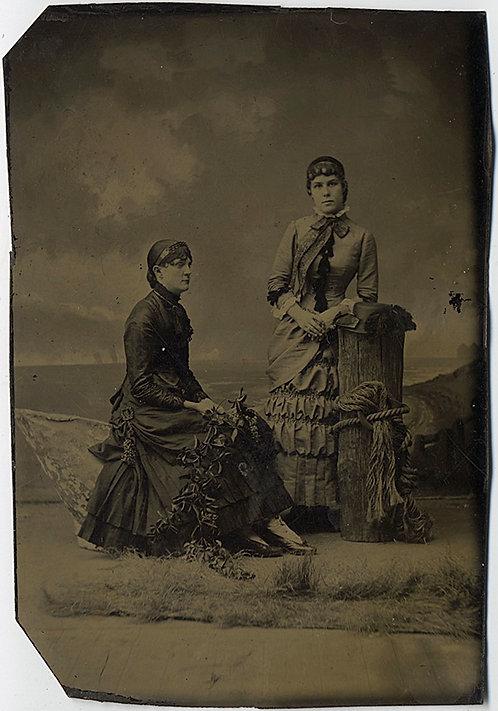 HANDSOME WOMEN in ORNATE DRESS in STUDIO PORTRAIT! TINTYPE