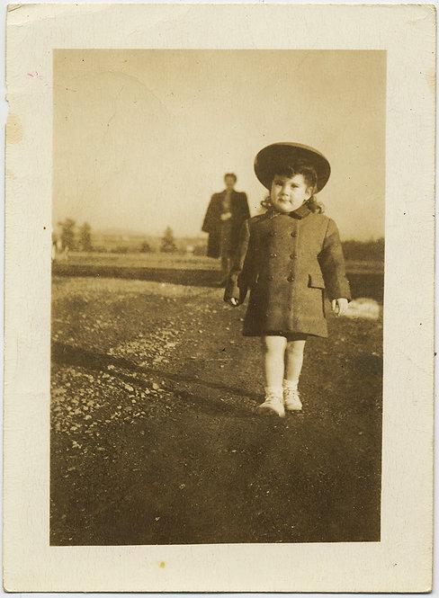 BIG LITTLE GIRL in BEST COAT HAT DRESS STRIDES BOLDLY MOM DWARFED BEHIND
